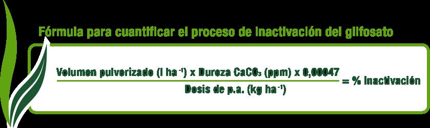 Fórmula para cuantificar el proceso de inactivación del glifosato